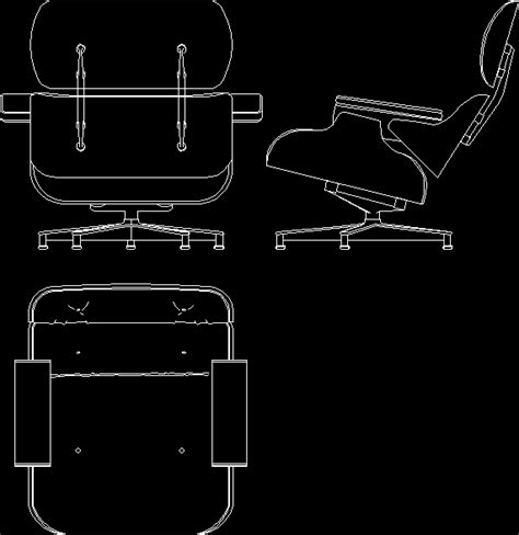 Charles Eames; Lounge Chair; 1956 DWG Block for AutoCAD