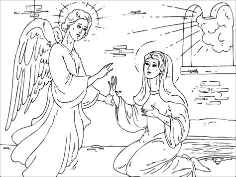 angel gabriel visits mary coloring page coloring pages