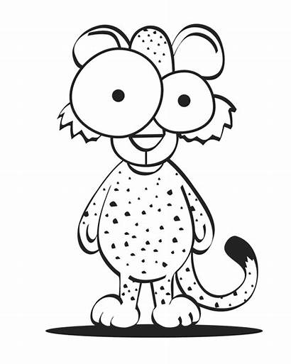 Cheetah Coloring Pages Cartoon Clipart Crazy Animal