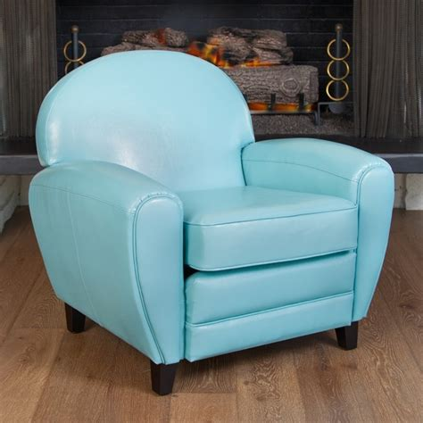 christopher home oversized teal blue leather club