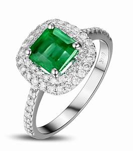 2 carat princess cut emerald and diamond double halo for Emerald and diamond wedding ring
