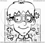 Nerdy Boy Coloring Cartoon Nerd Pages Clipart Outlined Vector Cory Thoman Emoji Royalty Template sketch template