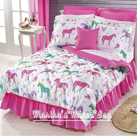 Girls Pink Equine Western Pony Horse Bedding 8pc Queen