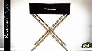 Table De Chevet Verre : table de chevet design noir et or en verre et m tal int rieurs styles ~ Teatrodelosmanantiales.com Idées de Décoration