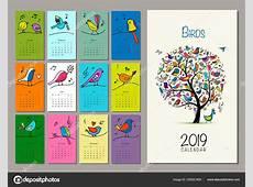 Árbol de pájaros, diseño de calendario 2019 — Vector de