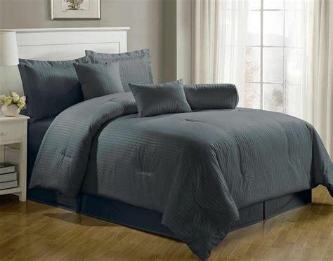 Luxurious 7-piece Comforter Set King Size Bedding Gray