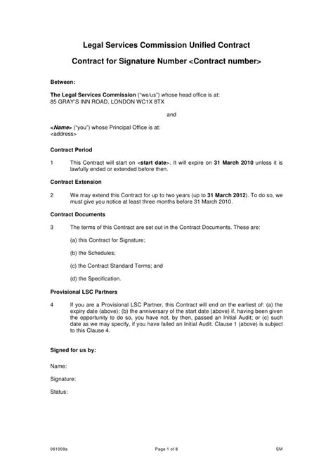Contract Signature Page Template Uk by Legal Services Commission Unified Contract Contract For
