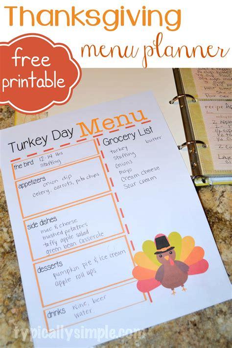 turkey day menu planner typically simple