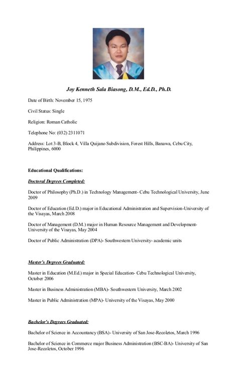 doctors resumes curriculum vitae of dr joy kenneth sala biasong