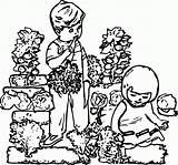 Coloring Drawing Children Gardening Popular Coloringhome sketch template