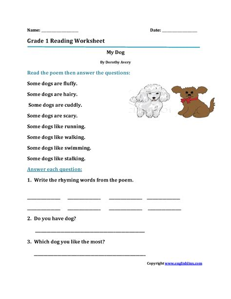 reading worksheets grade reading worksheets