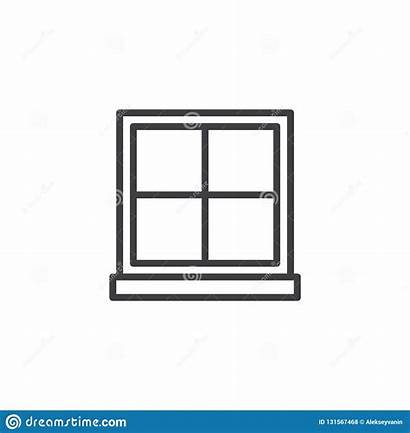 Window Outline Frame Simple Line Icon Glass