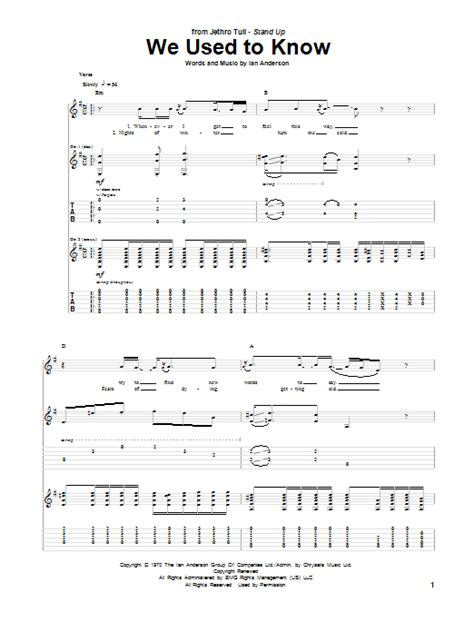 We Used To Know By Jethro Tull  Guitar Tab Guitar