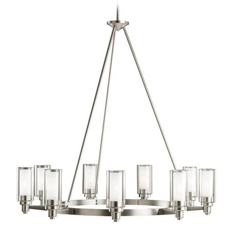 kichler modern chandelier with clear glass in brushed