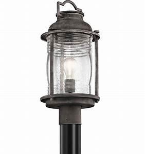kichler 49573wzc ashland bay retro weathered zinc outdoor With kichler outdoor pole lighting
