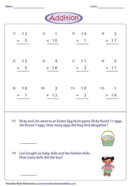 single digit vertical multiplication without regrouping 2 digit addition worksheets