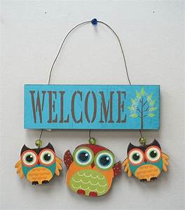 Wood Owls Welcome Sign | eBay