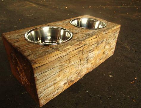 wood dog dish holder reclaimed oak barn beam  bowl large