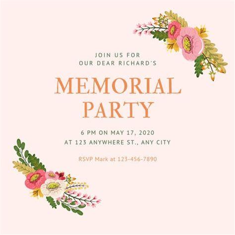 customize  memorial invitation templates  canva