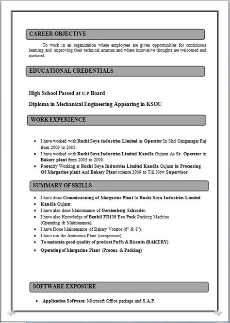 resume co resume sle of diploma in mechanical