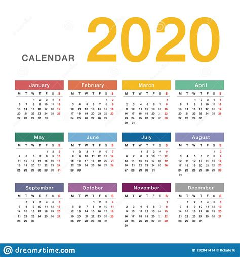 colorful year calendar horizontal vector design template simple