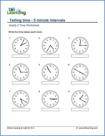 grade 2 telling time worksheets 5 minute intervals read