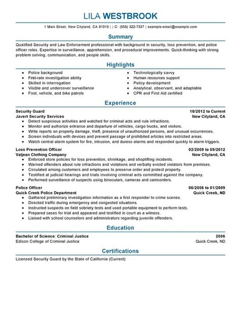 Enforcement Resume Sle by 95 Resume Template Resume Sle 14