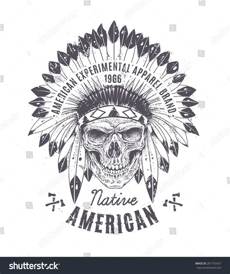 Indian Headdress Template by Dotwork Style Skull Indian Feather Hat Stock Vector