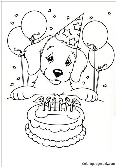 happy birthday puppy coloring page  coloring pages