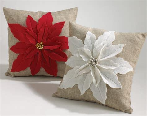 white poinsettia felt holiday design throw pillow christmas
