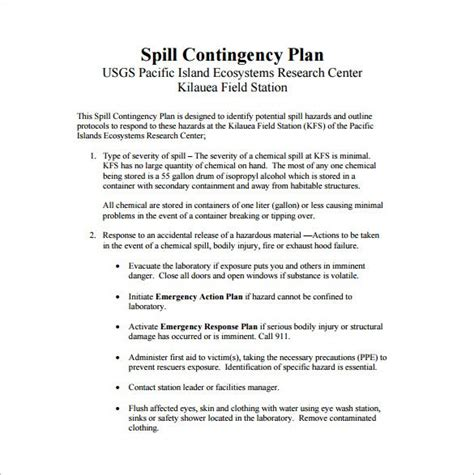 contingency plan templates   ms word