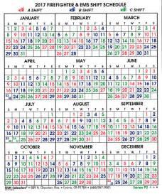 Firefighter Shift Calendar 2017 Calendar Template 2016