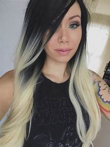 Night Blonde Lush Wigs Black Blonde Roots Ombre Dip