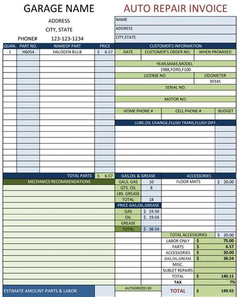 auto repair invoice template auto repair invoice