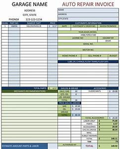 auto repair template free printable documents With auto service invoice template