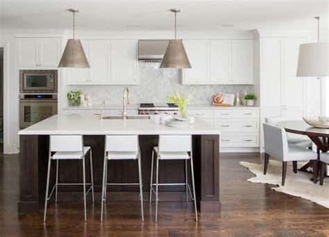 white kitchen  espresso island transitional kitchen