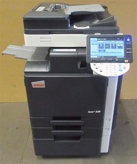 It has a modest speed of 22 pages/minute with a high resolution of 1200×1200 dots/inch. Konica Minolta Bizhub C220 Colour Develop Ineo Photocopier Printer Scanner Fax