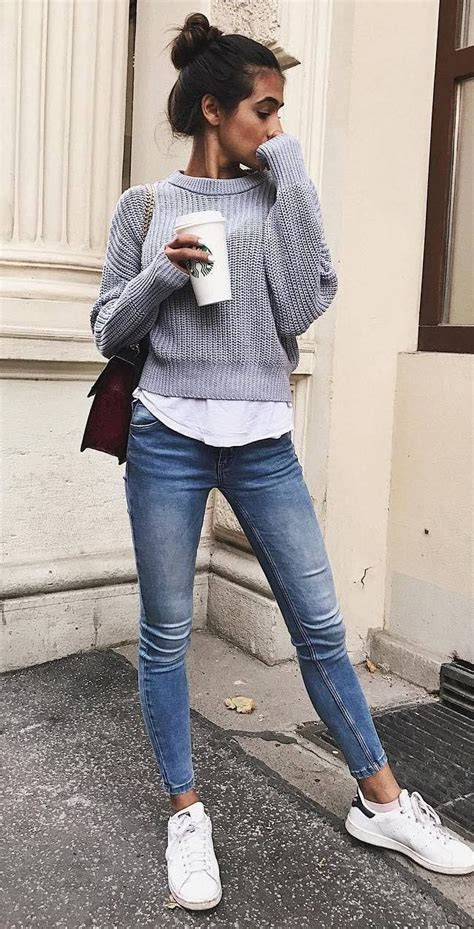 What To Wear With Skiny Jeans Grey Sweater Top Bag