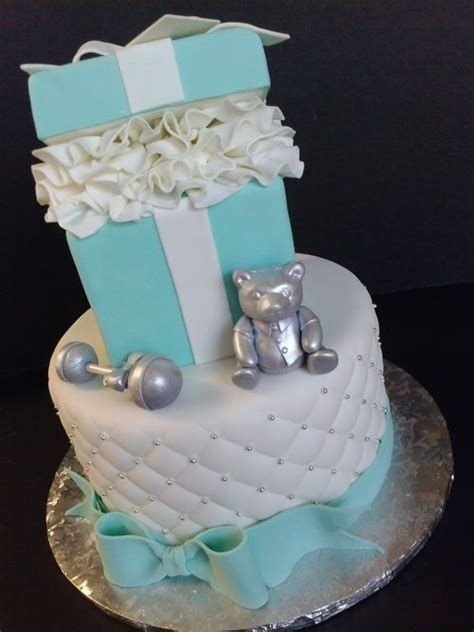 tiffany blue  silver baby shower cake pearland houston