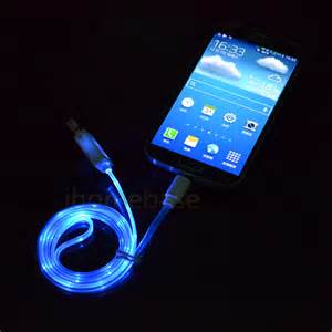 charger that lights up visible led light micro usb charger data sync cable for