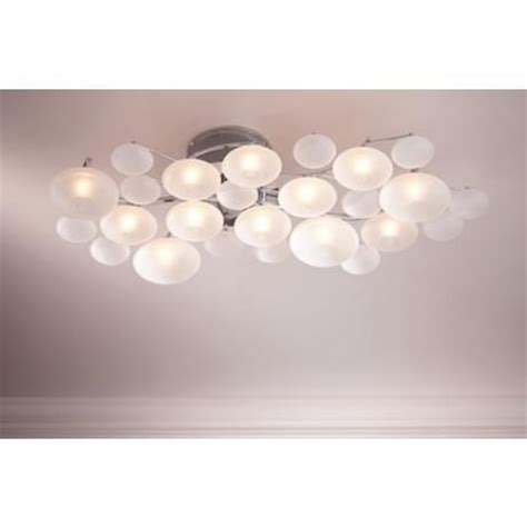 possini euro lilypad etched  wide ceiling light fixture