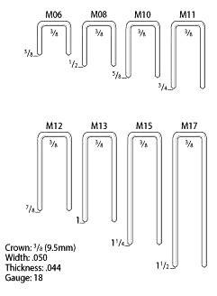 M15 1-1/4 Leg x 3/8 Crown Staples, 18 Ga EG (30000)
