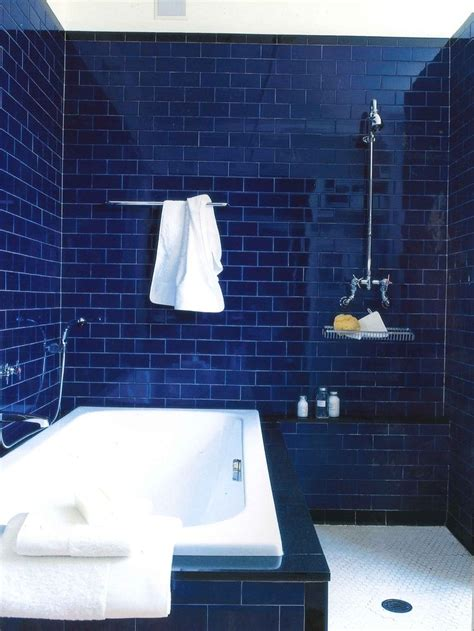 blue subway tiles   fun shower design subway