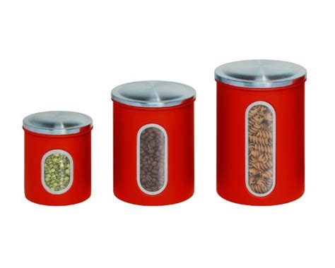 Red Metal Kitchen Canisters, Set Of 3 Ebay