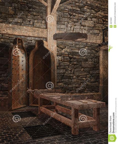 la chambre des tortures chambre de médiévale illustration stock image