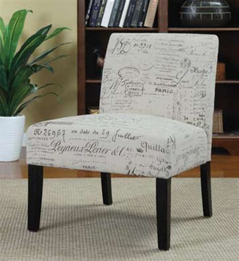 french script wood fabric cushion back accent chair