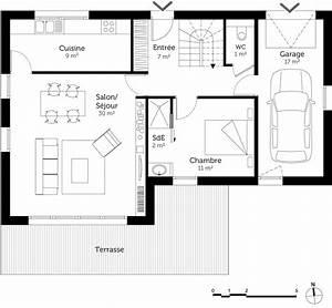 Plan Maison 1 Chambre 1 Salon : plan maison 100 m avec 4 chambres ooreka ~ Premium-room.com Idées de Décoration