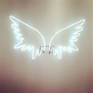 neon lights tumblr white wings image by