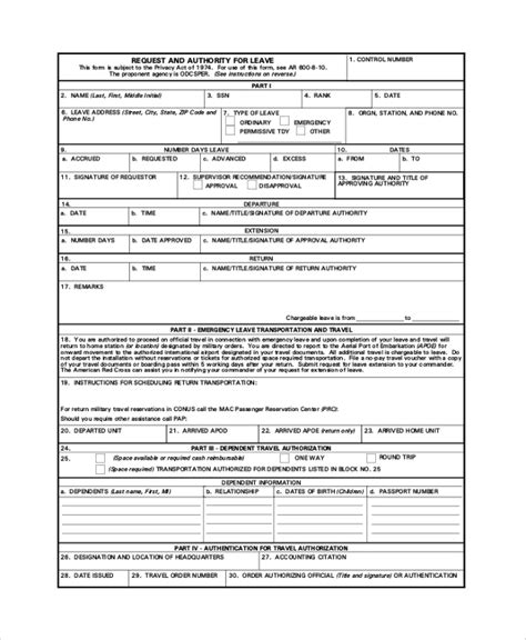 military leave request form template 7 sle army forms sle templates