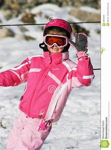 Girl Ski Skiing Smiling Winter Snow Rest Vocation Pink ...